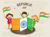 Cute little kids holding national flag and celebrating Indian Republic Day with Ashoka Wheel on tricolor board.