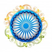 picture of indian independence day  - Shiny Ashoka Wheel surrounded by saffron and green floral design on white background for Indian Republic Day and Independence Day celebrations - JPG