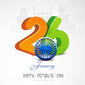 Glossy 3D text of 26 January with Ashoka Wheel for Happy Indian Republic Day celebration on historical monuments background.