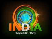 Indian Republic Day celebration poster, banner or flyer with Ashoka Wheel and national flag color on shiny brown background.