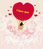 Hot Air Balloon - Valentine Card