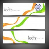 Indian Republic Day celebration website header or banner set with Ashoka Wheel and national flag color waves.