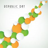 Stylish paper circles in national flag color for Indian Republic Day celebration.