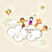 Cute little kids standing on clouds with flying kites for Indian Republic Day celebration.