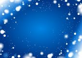 abstract blue winter horizontal background with snow frame