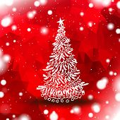 christmas tree with red snowy background
