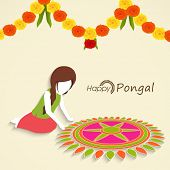 Little girl making floral design called rangoli with colorful flowers decoration for South Indian harvesting festival, Happy Pongal celebrations.