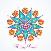 Beautiful greeting card design with colorful rangoli for South Indian harvesting festival, Happy Pongal celebrations.