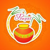 Happy Pongal, South Indian harvesting festival celebrations with traditional pot and sugarcane on floral decorated background.
