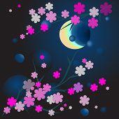 Illustration Of Blossoming Brunch In Moonlight