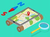 Flat 3d isometric mobile GPS navigation maps infographic concept vector