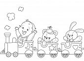 Illustration of a Ready to Print Coloring Page Featuring a Baby Riding a Toy Train