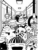 Doodle Illustration of Cute Monsters in a Crowded Subway Station