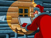 Santa Claus Typing A Letter On The Computer.eps