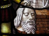 head of John the Baptist stained glass panel