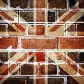 england flag on old brick wall