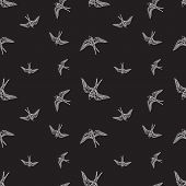 Vector black and white swallow birds seamless pattern