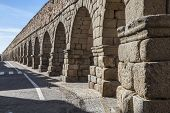 The Ancient, Roman aqueduct in Segovia, Spain