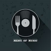 Menu Of Music With Vinyl, Knife, Fork And Musical Notes