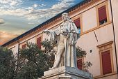 Statue Of The Anatomist G. B. Morgagni In Forli, Italy