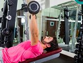 Barbell inclined bench Press flies man exercise workout at gym