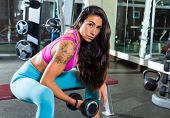 dumbbell concentrated biceps curl girl woman workout at gym exercise