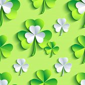 Background Seamless Pattern Green With 3D Patrick Clover