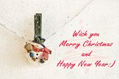 Christmas Greeting Card With Snowman Clothespin