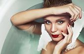 Portrait Of A Beautiful Glamourous Blonde In Water, Beauty Spa Concep
