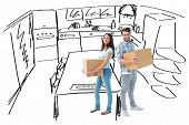 Happy young couple with moving boxes against kitchen sketch