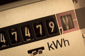 stock photo of electricity meter  - an electricity meter measures the electricity consumed - JPG