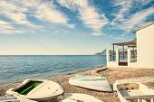 pic of costa blanca  - Traditional fishing equipment on a sunny Costa Blanca beach - JPG