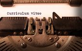 foto of typewriter  - Vintage inscription made by old typewriter curriculum vitae - JPG
