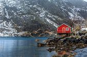 stock photo of lofoten  - Nusfjord is the oldest fishing village in Lofoten - JPG