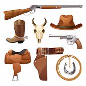 stock photo of horseshoe  - Cowboy elements set with saddle hat horseshoe skull isolated vector illustration - JPG