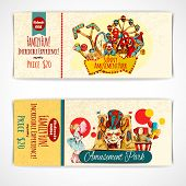 foto of funfair  - Amusement fun festival park tickets hand drawn set isolated vector illustration - JPG