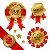 image of gold medal  - Top service awards premium quality ribbons and gold medals set isolated vector illustration - JPG