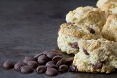 foto of chocolate-chip  - Chocolate Chip Scones on a Tray with Chocolate Chips on the Side  - JPG