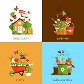 image of house plants  - Spring gardening design concept set with plants and tools flat icons isolated vector illustration - JPG