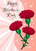 stock photo of carnation  - Greeting card with red carnations on Mother - JPG