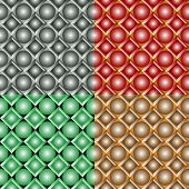 image of quadrangles  - Seamless patterns from a set of colored squares with balls - JPG