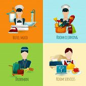 picture of maids  - Hotel maid and doorman design concept set with room cleaning service icons isolated vector illustration - JPG