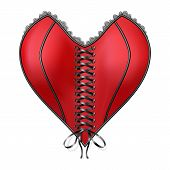 pic of corset  - Red corset heart with lacing - JPG