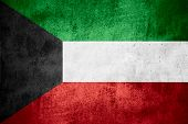 image of kuwait  - flag of Kuwait or Kuwaiti banner on rough pattern texture background - JPG
