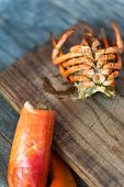 pic of carapace  - Close up of lobster carapace on a wooden table