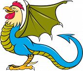foto of bat wings  - Illustration of a basilisk standing an animal with the head torso and legs of a rooster the tongue of a snake the wings of a bat and with a snake - JPG