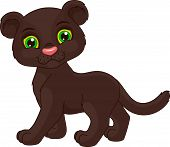 stock photo of panther  - cute black panther cartoon on a white background - JPG