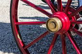 stock photo of carriage horse  - The old colored carriages with their old - JPG