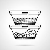 image of lunch  - Black flat line vector icon for two lunch boxes or containers with food on white background - JPG