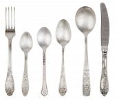 image of tablespoon  - Aged vintage silver cutlery  - JPG